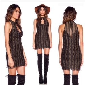 Free people Keyhole black and gold dress